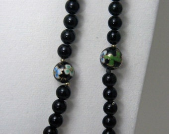 Black Cloisonne Vintage Necklace Set