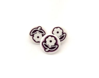 3 Flower Buttons, White, Plum, Flowers