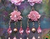 Pretty Pink Ruffled Ribbon Rose Chandelier Earrings, Blush Antique Floral Earrings, Shabby-Chic Feminine Jewelry, Girly Girl!,Clip-On Option