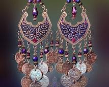 """Exotic Moroccan Purple & Garnet Red Coin Dangle Earring, 5"""" Gypsy Chandelier Earrings, Bohemian Jewelry, Bronze, Renaissance, Medieval"""