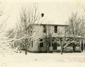 "Vintage Photo ""Snowy Farm"" Home House Snapshot Photo Old Antique Photo Black & White Photograph Found Photo Paper Ephemera Vernacular - 191"