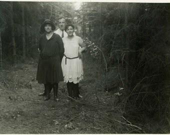 "Vintage Photo ""Woodland Journey"" Snapshot Photo Old Antique Photo Black & White Photograph Found Paper Ephemera Vernacular - 152"