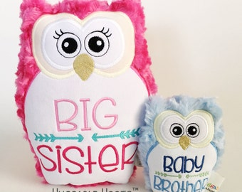 Stuffed Owl - Sibling Set - Big Sister and Baby Brother - Plush Owl - Stuffed Animal - Personalized Stuffed Animal - Birth Announcement Gift