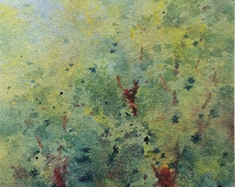 Green maze - Original watercolor ACEO painting