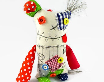 Stuffed Monster Doll - Soft Sculpture - Quirky Gift - Friendly Monster Doll - Personalised Gift - Fantasy Doll