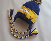 University of Michigan Hat  GO BLUE - Wolverines baby - Blue and Gold - University of Michigan Hat - U of Mich - Michigan Baby Hat - crochet