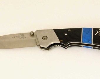Elk Ridge Pocket knife with custom Silver Elk head inlay