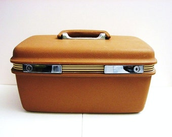 Samsonite Concord Train Case, Caramel Brown, Vintage Cosmetics Case, Suitcase ... Inside Mirror, Zippered Cosmetic Bag