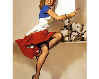 Pinup Girl Card - Patriotic Sign Vote Donkey Elephant - Its Up To You - Repro Elvgren