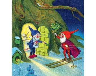 Holiday Card - Gnome Brings Presents - Fritz Baumgarten - Christmas New Year Bonne Anne or Blank