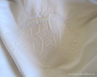Antique French Metis Linen Sheet With Gorgeous Hand Embroidered BV Monogram & Hand Drawn Thread Work All Hand Sewn