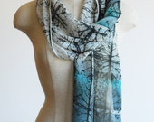 Turquoise silk chiffon scarf, screen printed scarves by 88editions