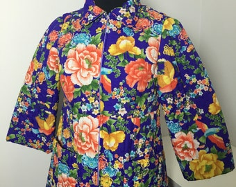 Quilted Asian Style Floral Print Robe