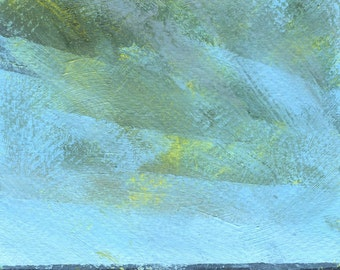 Original minimalist skyscape painting abstract 5 x 9 inches - Cloud lift
