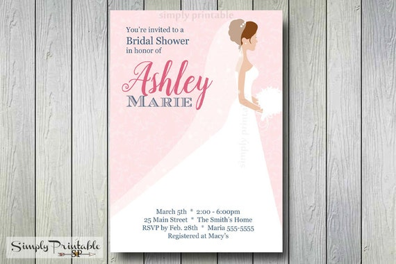 Bridal Shower Invitation,Wedding Dress, Bride, Soon to be Mrs, Bridal Shower Invite, Baby Shower Invitation, Printed Invites, Birthday