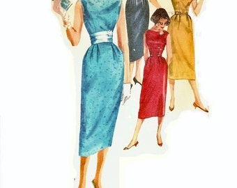 1950s Sheath Dress Pattern, Slim Skirt, Sleeveless, Bateau Neckline, Bust 34, Size 14, Simplicity 2144 Vintage Sewing Pattern