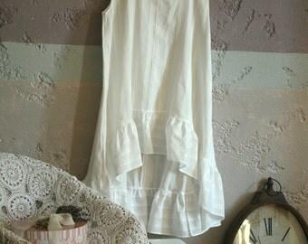 White striped batiste tunic, nightgown, high low ruffled hemline