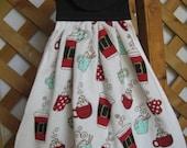 Christmas Coffee Kitchen Tea Towel, Hanging Dish Towel, Coffee Towel, Red Black Kitchen Decor, Party Towel, Oven Towel, Hostess Gift, Linens