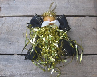 Angel Christmas Ornament, Gold Metallic Angel, Tree Ornament, Christmas Angel, Gold Black Angel, Gold Decor, Angel Collector SnowNoseCrafts