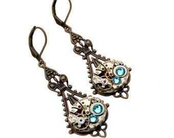 DECEMBER Steampunk Earrings, TURQUOISE Steampunk Wedding Earrings, Dangle Earrings, Antique Brass Steampunk Jewelry by VictorianCuriosities