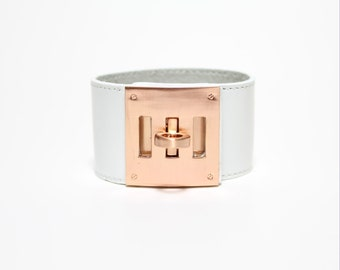 Leather Wrap Bracelet with Brushed Rose Gold Plated Square Closure Ornament(White)