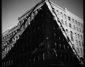 Building Shadow Triangle Graphic Industrial Brooklyn New York City Art Black and White Photograph Print