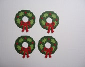 4 Christmas Wreath Embellishments with Holly and Berries Die Cuts for scrapbooking, cards and paper crafts Fully Assembled Card Toppers Xmas