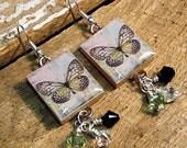 Scrabble Tile Earrings / Green Butterfly Earrings / Dangle Earrings / Vintage Style / Swarovski Crystals / Drop Earrings