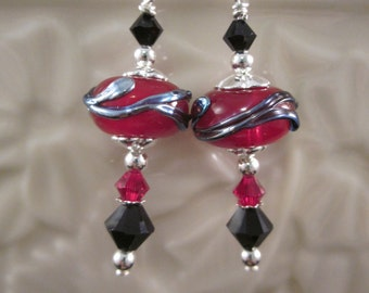 """The Simply Elegant Collection - """"Red Jet"""" Sterling Silver Earrings - Lampwork Glass, Swarovski Crystal, Unique, OOAK, SRAJD"""