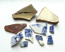 Beach Pottery, Sea Pottery, Pottery Shards, Scottish Pottery, Set of 10, Broken China, Vintage Ceramics