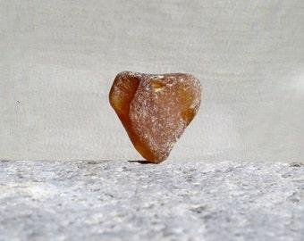 Medium Grade A Brown Sea Glass Heart, Bottle Top, Genuine Seaglass, Maine Ocean, Jewelry Grade A, Keepsake, Frosted Beach Glass