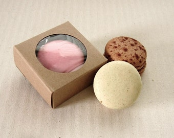 10 Mini Kraft Boxes 2 1/4 x 2 1/4 x 1 inches - Single Macaron or Covered Oreo Box, Wedding Favor Boxes