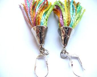 Tassel Earrings, Fringe earrings, Multicolor Earrings, Statement earrings, Tassel multicolor, Silk tassel, blue earrings, pink  earrings,