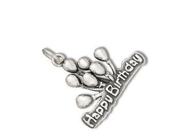 Happy Birthday with Balloons Charm Pendant Sterling Silver 925