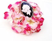 Vintage Lucite Rose Pin  - Black White Carved Flower Brooch / Oval White Rose Scarf Pin