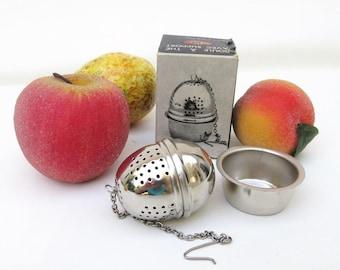 Vintage Tea Ball with Holder, Tea Strainer, Tea Maker, Aluminum Cup, Original Box