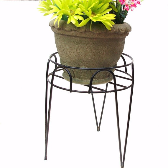Vintage Metal Plant Stand Hair Pin Legs Black Iron Planter