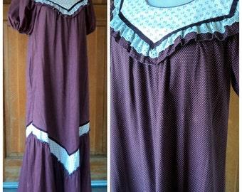 Vintage 70s Maxi Lola Of Hawaii Midi Prairie Dress / Lounger Hippie Polka Dot Ditsy Dot Floral Ruffle Hem Puff Sleeve M 36 Bust