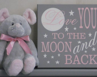 Love You To The Moon and Back, Moon and Star Wall Art Girls Bedroom, Gray and Light Pink Painted Wood Sign, Baby Girl Nursery Decor / Gift