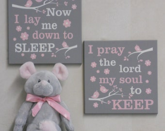 Baby Girl Nursery Pink and Gray Signs: Now I Lay Me Down To Sleep / I Pray The Lord My Soul To Keep, Bedtime Prayer Baptism Christening Gift