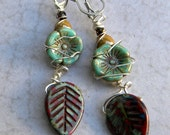 Turquoise and Red Leaf Earrings - Rustic Red Leaf Earrings  - Glass Turquoise - Wired Southwest Red and Turquoise Jewelry