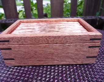 Handcrafted Honduran Mahogany Jewelry/ Keepsake Box with Copper Lid and Wenge Keys