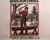 Vintage Crescent Brand Paper Buckwheat Sack with Lumberjack - Great Thanksgiving Decor!