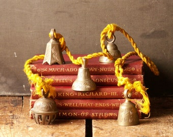 Vintage Set of Etched Brass Bells on a Golden Rope - Exotic Holiday Decor