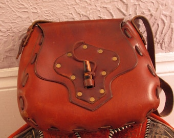 70's Vintage Hippie Leather Brass Studded Shoulder Bag Purse