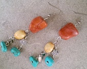 Red Sponge Coral, Turquoise, Cowbone with Silver Dangle Earrings