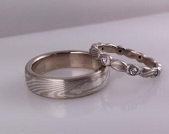 14k palladium white gold and sterling silver mokume gane wedding bands with diamond eternity band