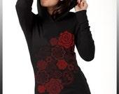 Red Roses Embroidery Print Black Hoodie