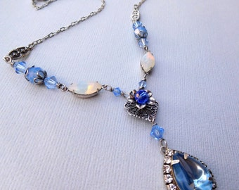 Blue rhinestone pendant necklace, antiqued silver, opal glass, Austrian crystal, vintage style filigree components, light blue jewelry
