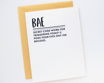 sale funny valentines day card bae love card friendship card black and gold